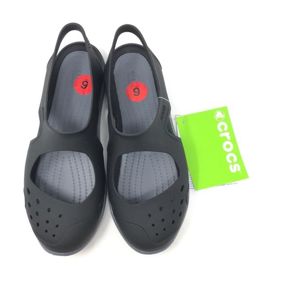klasyczne style nowy koncept najlepsze trampki Crocs Swiftwater Wave Black Sandals Shoes Size 6 Boutique